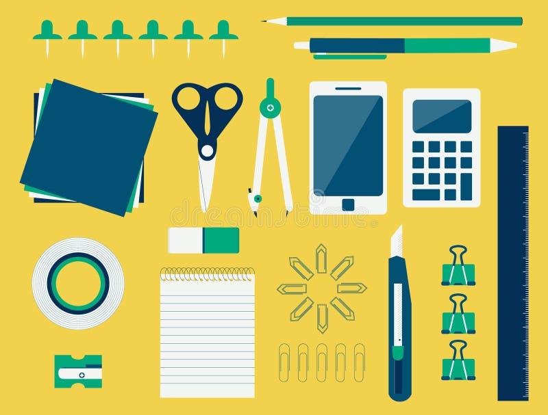 Biurowe dostawy (płaski projekt) ilustracji