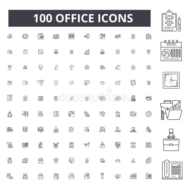 Biurowe editable kreskowe ikony, 100 wektorów set, kolekcja Biurowe czarne kontur ilustracje, znaki, symbole royalty ilustracja