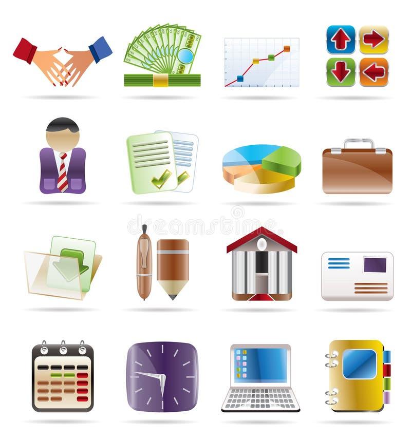 biurowe finansowe biznes ikony ilustracji