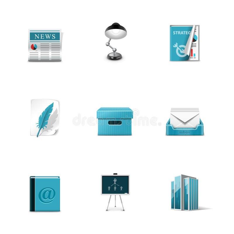Download Biurowe Ikony. Azzuro Serie Ilustracja Wektor - Ilustracja złożonej z piórko, biurka: 28970525