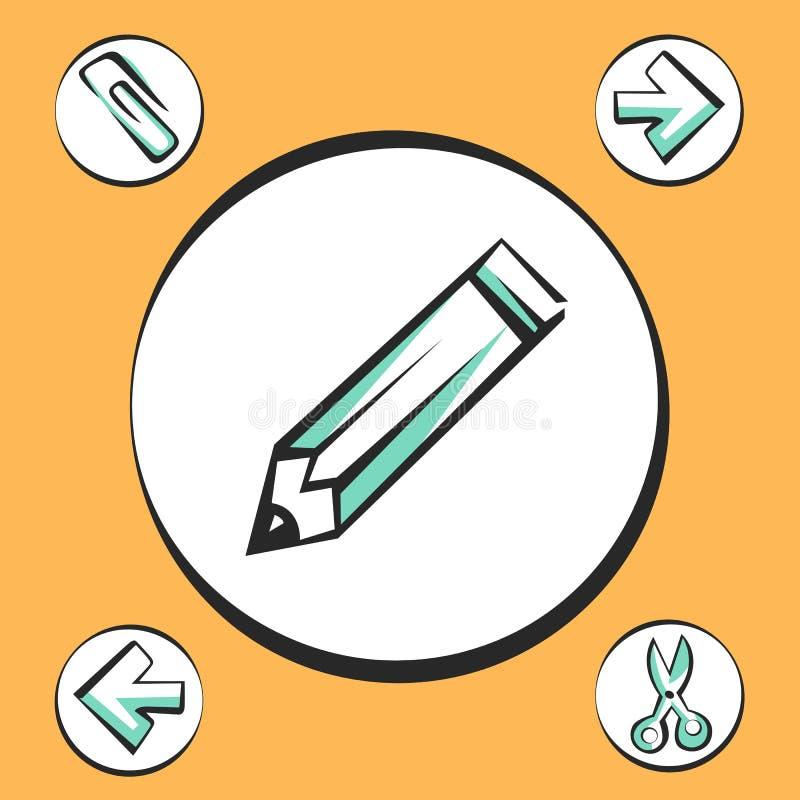 Biurowe ikony dla app i sieci Wektorowi wystrzał sztuki znaki ilustracji