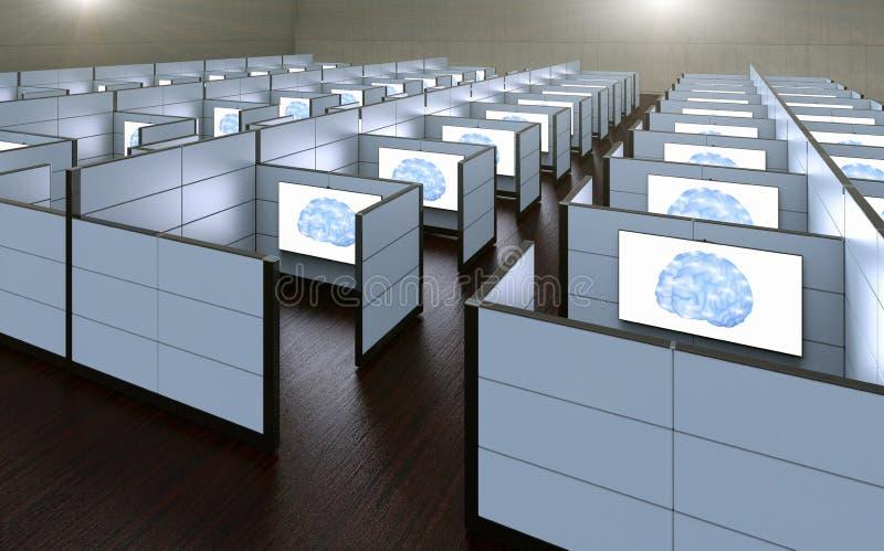 Biurowe kabinki dokąd pracownicy dokąd zamieniający sztuczną inteligencją ilustracji
