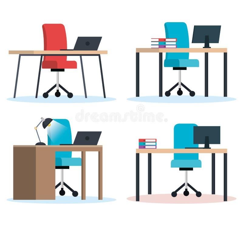 Biurowe miejsce pracy scen ikony ilustracji