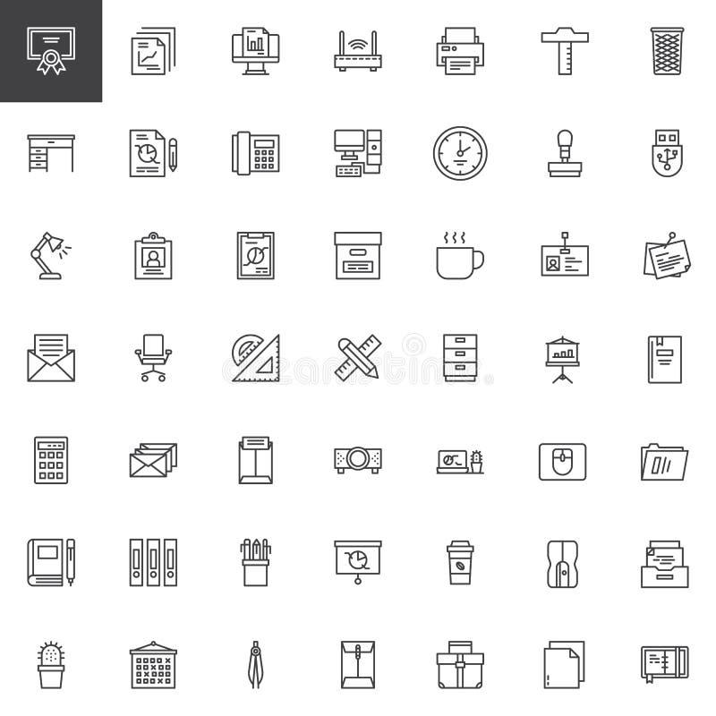 Biurowe narzędzie konturu ikony ustawiać royalty ilustracja
