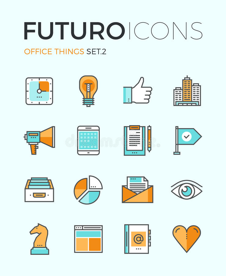 Biurowe rzeczy futuro linii ikony ilustracja wektor