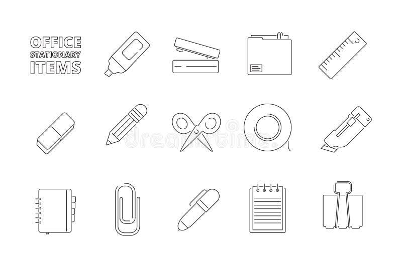 Biurowe stacjonarne rzeczy Biurko skoroszytowych papierów pióra zszywacza filc pióra ołówkowi gadżety dla kierowników pomagają pr ilustracji