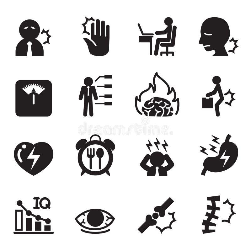 Biurowe syndrom ikony ustawiać royalty ilustracja