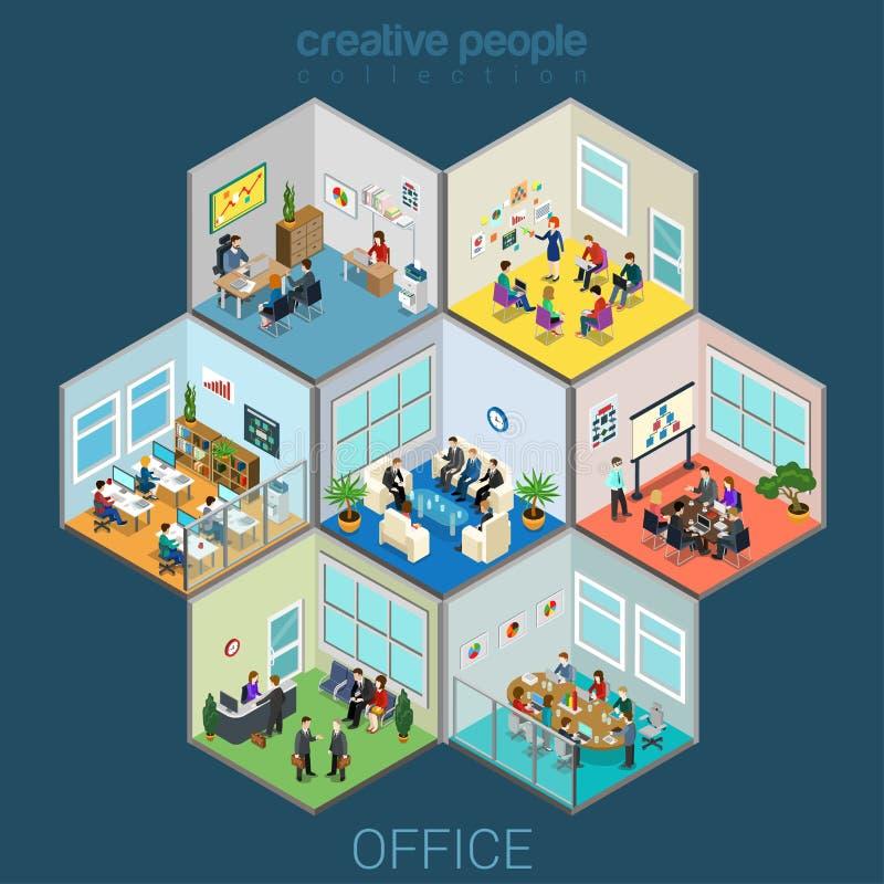 Biurowe wewnętrzne izbowe komórki ilustracja wektor