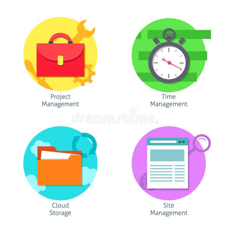 Biurowe zarządzanie ikony ustawiać ilustracji