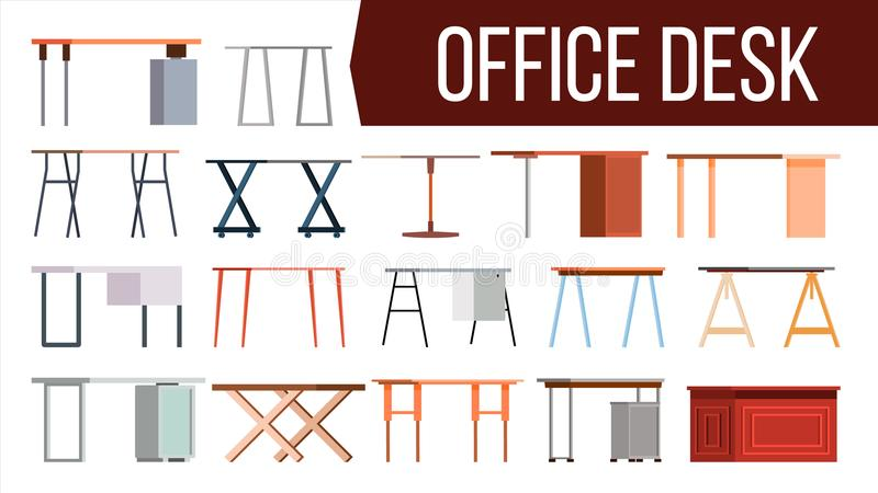 Biurowego biurka Ustalony wektor Domowy stół Biurowy Kreatywnie Nowożytny biurko Wnętrza miejsca pracy projekta Stołowy element P ilustracja wektor