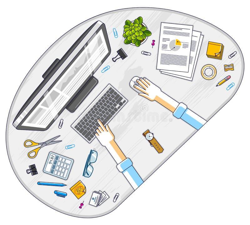 Biurowego biurka workspace odg?rny widok z r?kami biurowy pracownik, przedsi?biorca, peceta komputer lub r??norodny materia?y, pr ilustracja wektor