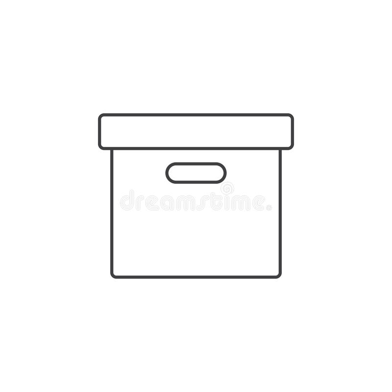 Biurowego kartoteki pudełka cienka kreskowa ikona, archiwum konturu loga wektorowy illu royalty ilustracja