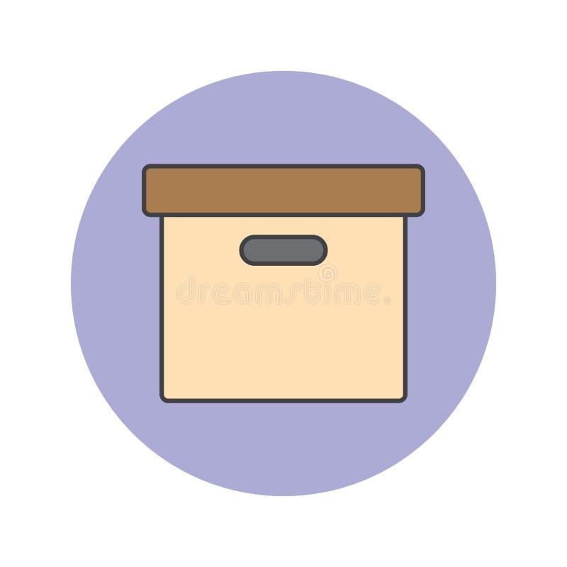 Biurowego kartoteki pudełka cienka kreskowa ikona, archiwum wypełniał konturu wektoru lo ilustracja wektor