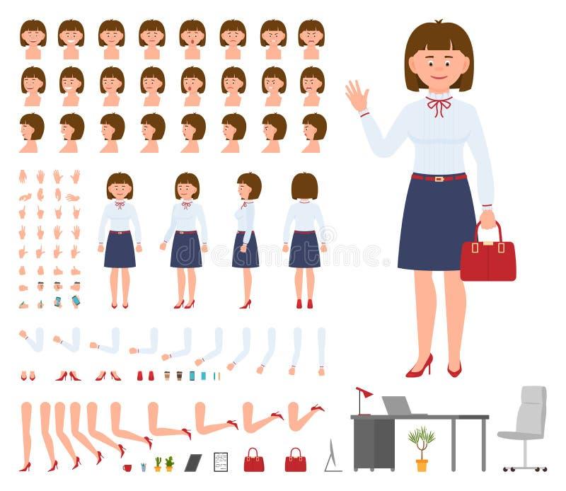 Biurowego kierownika kobiety postaci z kreskówki konstruktora projekta set royalty ilustracja