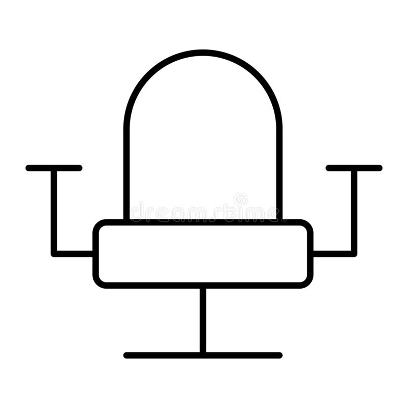 Biurowego krzesła cienka kreskowa ikona Karło wektorowa ilustracja odizolowywająca na bielu Meblarski konturu stylu projekt, proj ilustracja wektor