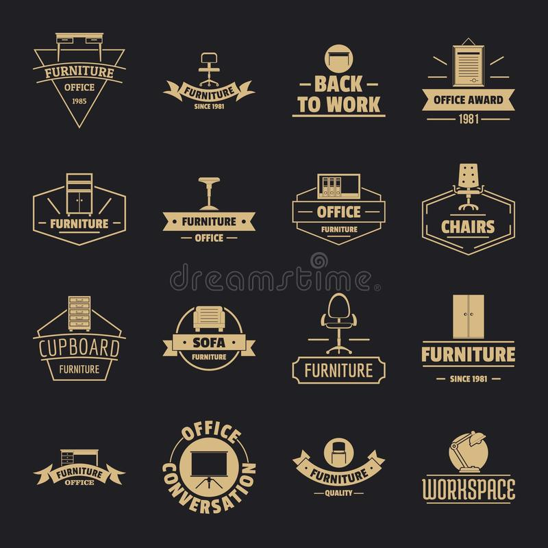 Biurowego meble loga ikony ustawiają, prosty styl ilustracji