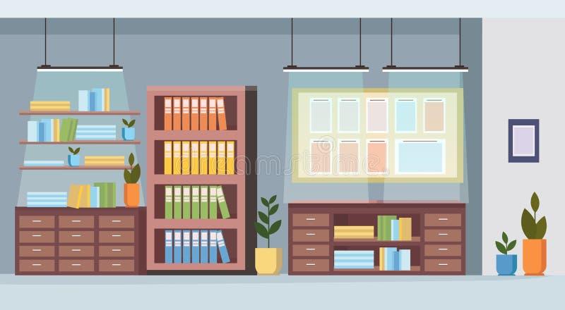 Biurowego meble planowania zadania deski sali konferencyjnej kreatywnie gabinetowy wnętrze no opróżnia żadny ludzi workspace mies ilustracji