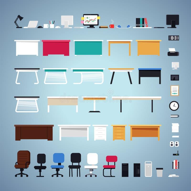 Biurowego meble set ilustracji