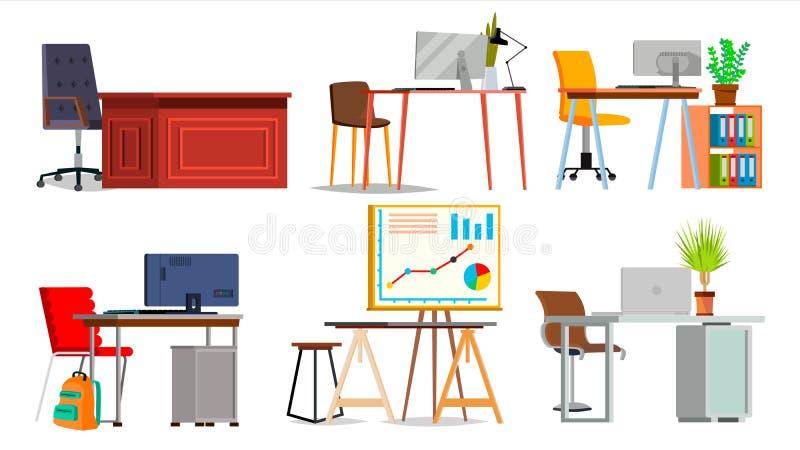 Biurowego miejsca pracy Ustalony wektor Wnętrze Biurowy pokój, Kreatywnie przedsiębiorcy budowlanego studio PECET, komputer, lapt ilustracja wektor