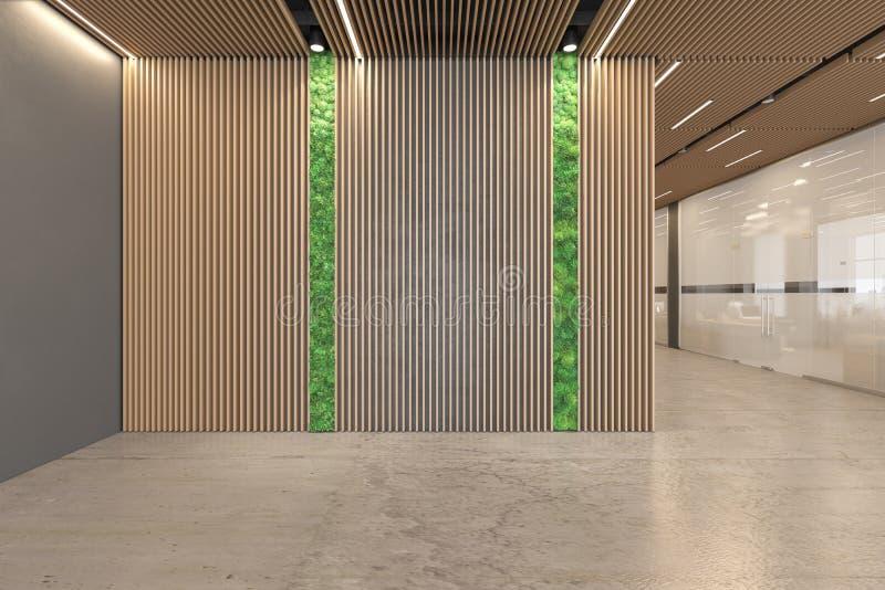 Biurowego otwarta przestrzeń lobby ekologiczny wnętrze z betonową podłogą, drewniany sufit, przyjęcie, dźwignięcie ilustracja wektor