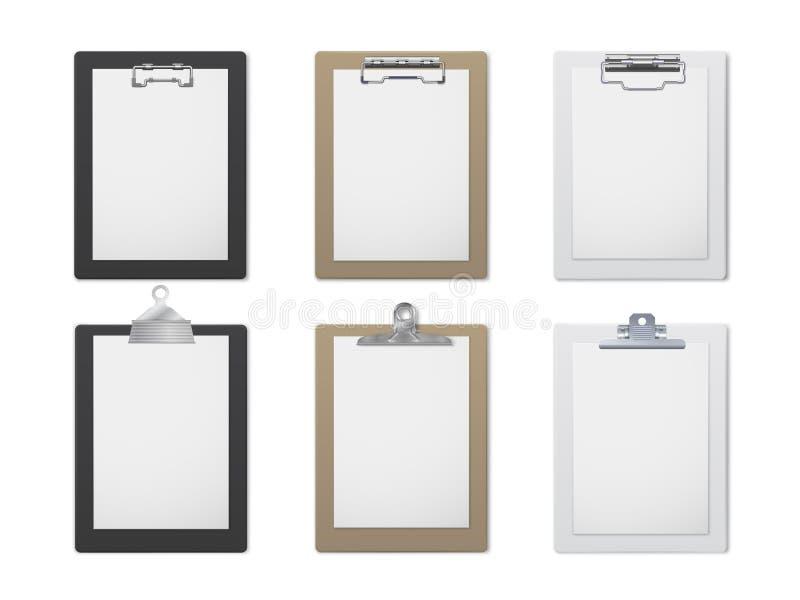 Biurowego schowka realistyczny set, dokument i papieru właściciel, ilustracji