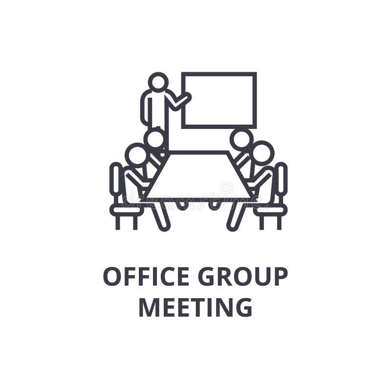 Biurowego spotkania grupowego cienka kreskowa ikona, znak, symbol, illustation, liniowy pojęcie, wektor ilustracja wektor