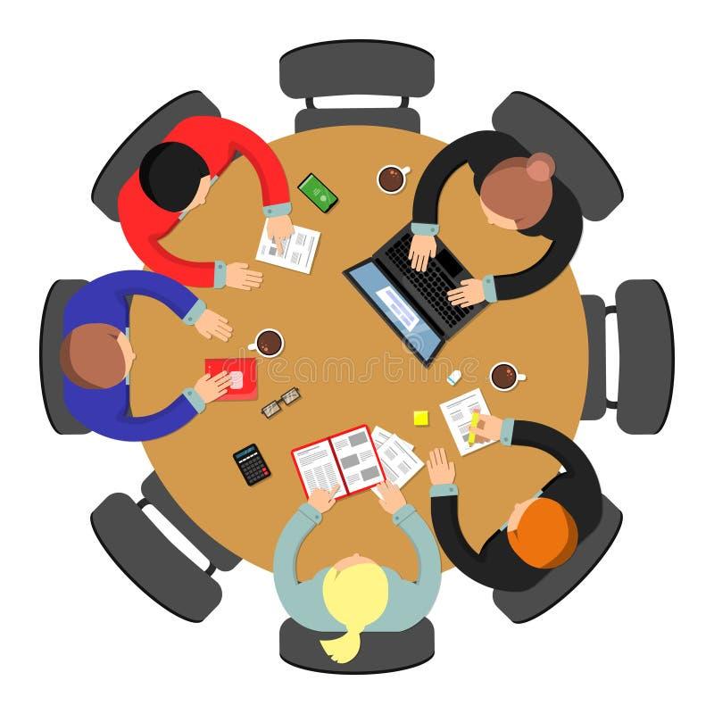 Biurowego spotkania odgórny widok Konferencji pracy zespołowej grupowa dyskusja przy roundtable biznesowym wektorowym pojęciem ilustracji