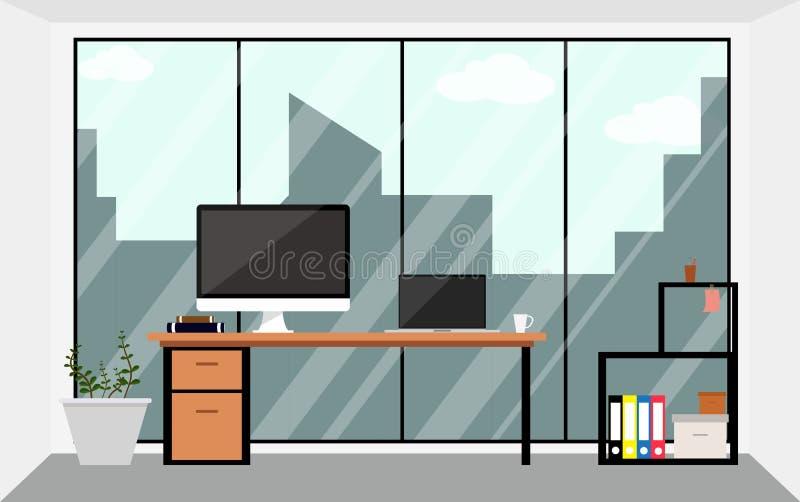 Biurowego workspace projekta wewnętrzna ilustracja w mieszkaniu Biznesowy pojęcie protestuje element ilustracji