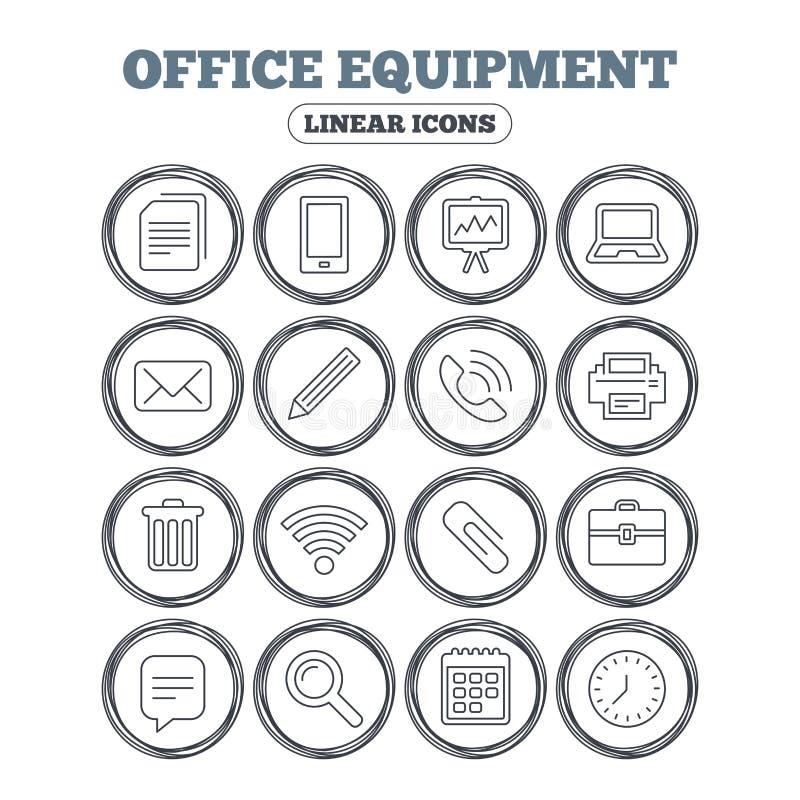 Biurowego wyposażenia ikony Komputer i drukarka ilustracji