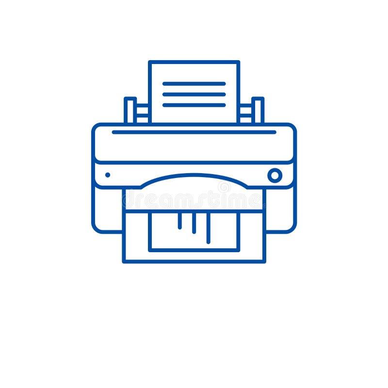 Biurowej drukarki linii ikony pojęcie Biurowej drukarki płaski wektorowy symbol, znak, kontur ilustracja ilustracja wektor