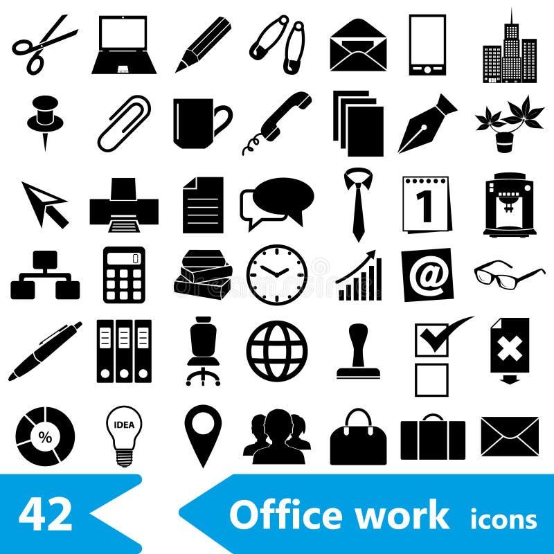 Biurowej pracy tematu ikon prosta czarna kolekcja eps10 ilustracja wektor