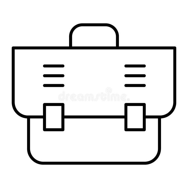 Biurowej torby cienka kreskowa ikona Teczki wektorowa ilustracja odizolowywająca na bielu Torba konturu stylu projekt, projektują ilustracja wektor