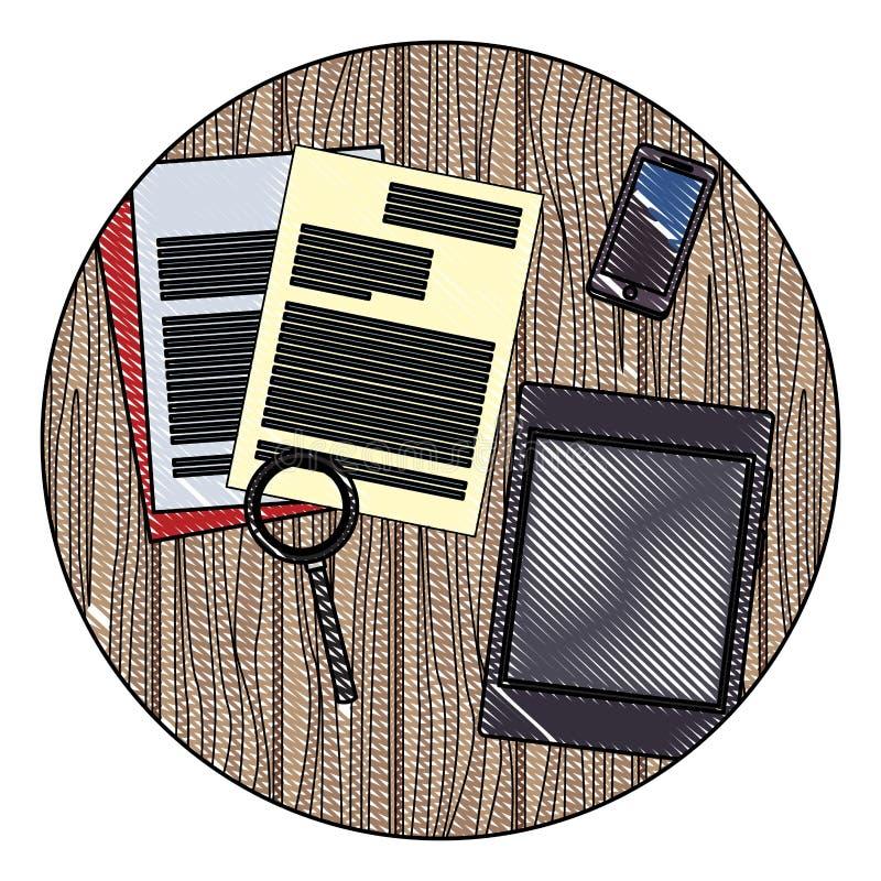 Biurowi elementy na biurko skrobaninie royalty ilustracja