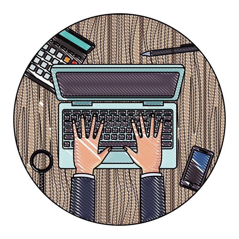 Biurowi elementy na biurko skrobaninie ilustracja wektor