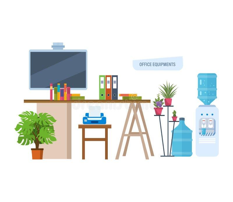 Biurowi equipments Miejsce pracy, workspace z desktop, monitor, meble w wnętrzu ilustracja wektor