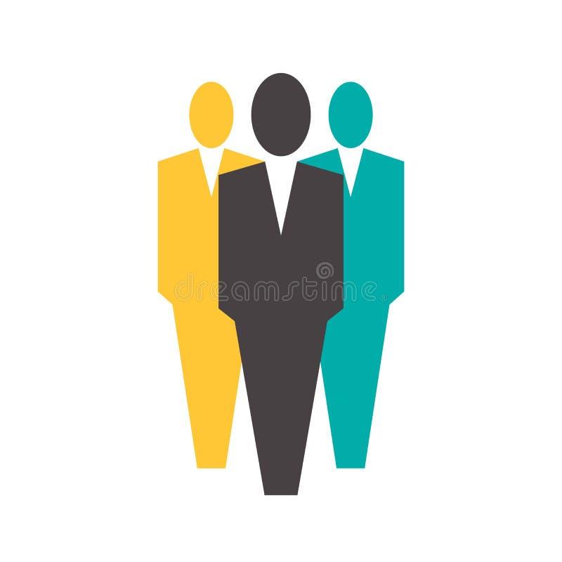 Biurowi ludzie ikon, trzy mężczyzna być ubranym kostiumy ilustracja wektor