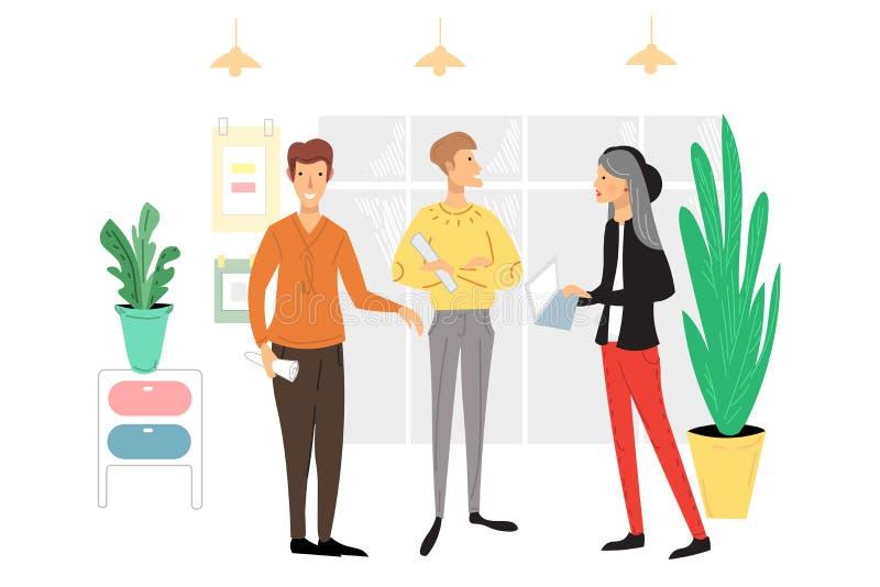 Biurowi ludzie scen Mężczyźni i kobiety bierze udział w biznesowym spotkaniu, negocjacja, brainstorming, opowiada do siebie ilustracji