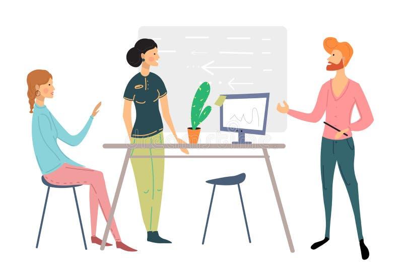 Biurowi ludzie scen Mężczyźni i kobiety bierze udział w biznesowym spotkaniu, negocjacja, brainstorming, opowiada do siebie ilustracja wektor