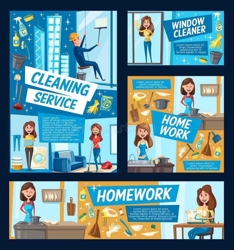 Biurowi okno czyści i domowi czyścą usługi ilustracji