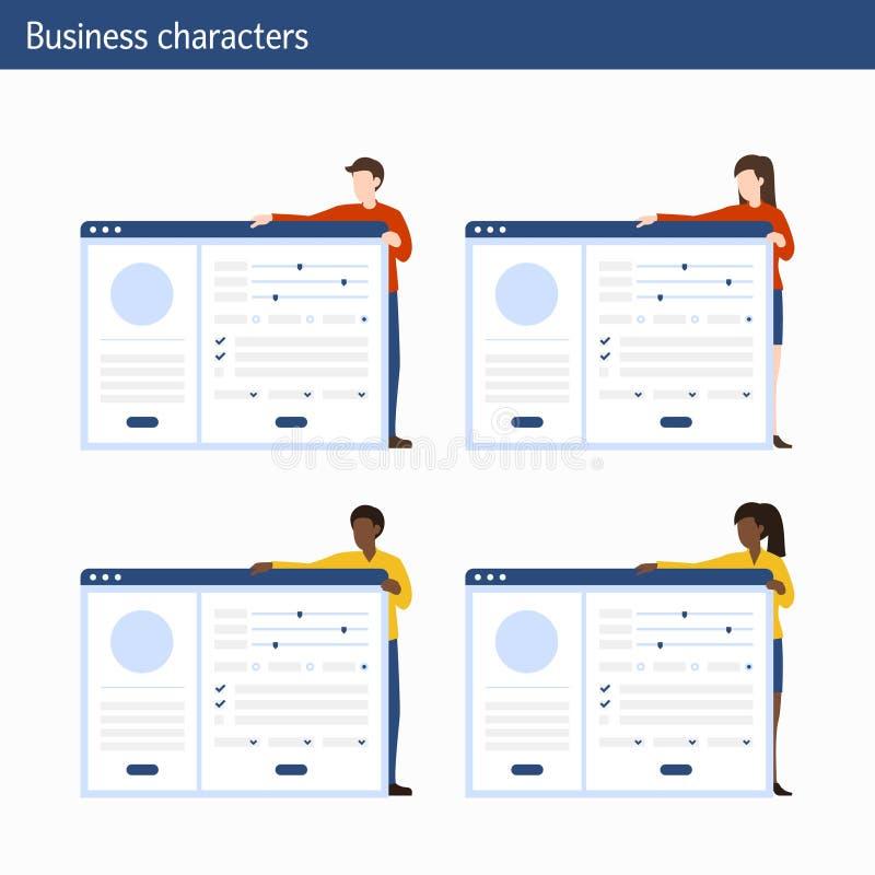 Biurowi pojęć ludzie biznesu z infographics ilustracji