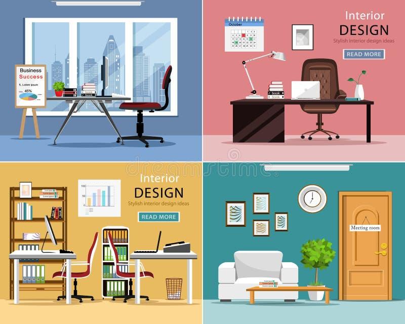 Biurowi pokoje ustawiający Szczegółowi graficzni izbowi wnętrza z meble: biuro stoły, krzesła, laptopy i biurowe dostawy, royalty ilustracja