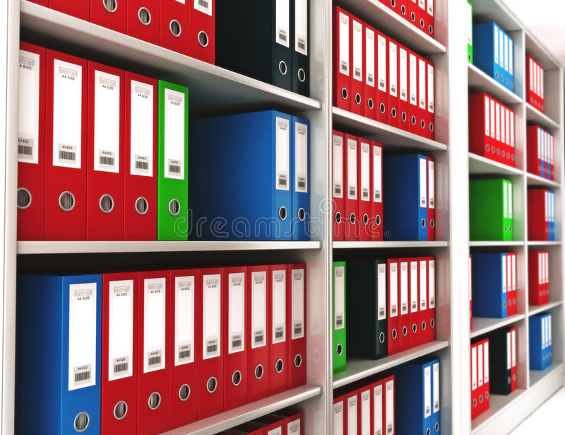 Biurowi ringowi segregatory na półka na książki royalty ilustracja