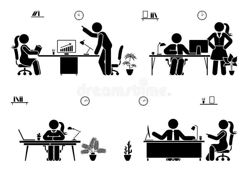 Biurowi ruchliwie działanie kija postaci ikony wektorowego setu ludzie Praca zespołowa, rozwiązanie, komunikacja, nadzorcy piktog ilustracji