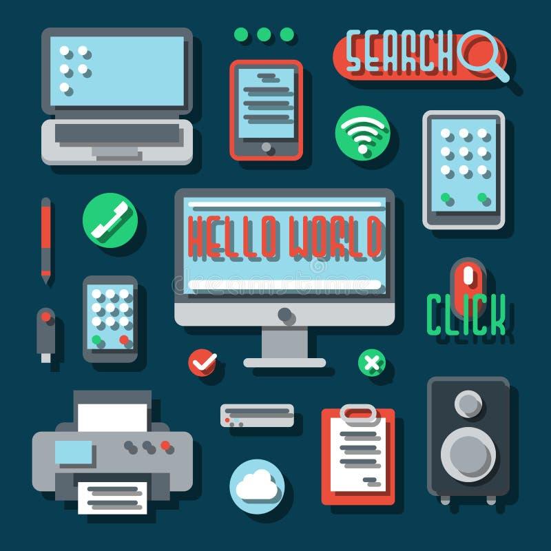 Biurowi urządzenia elektroniczne dla biznesu wektor ilustracji