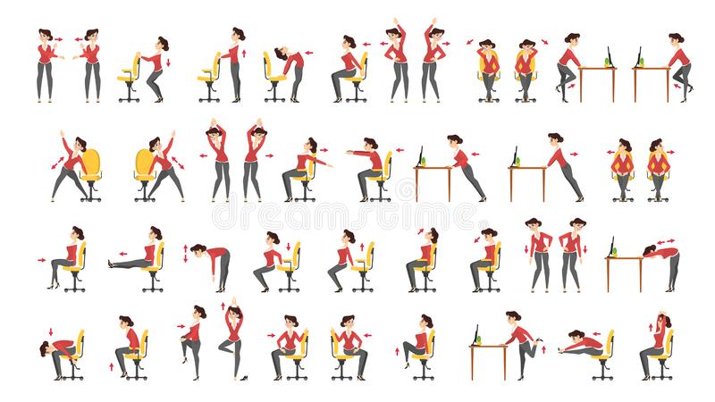 Biurowy ćwiczenie set Ciało trening dla biura ilustracja wektor