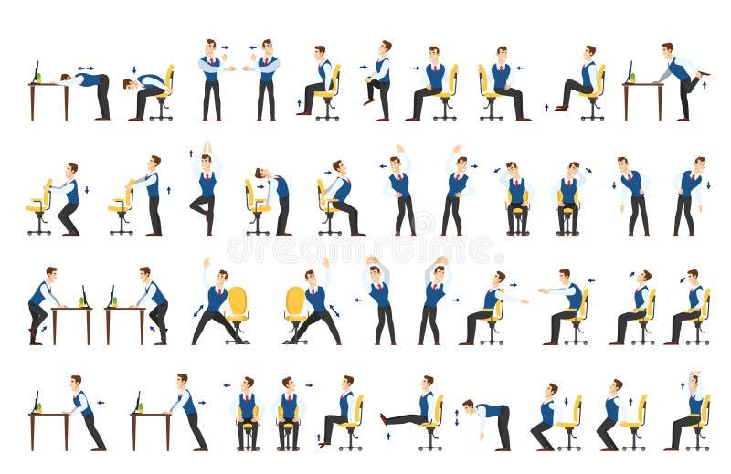 Biurowy ćwiczenie set Ciało trening dla biura royalty ilustracja
