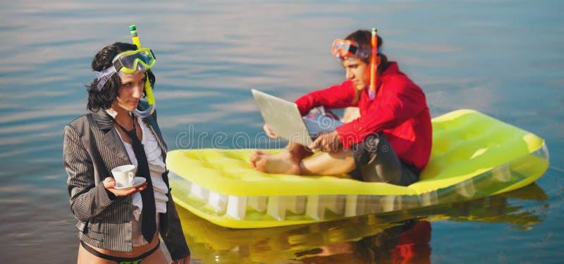 Biurowy życie na wakacje. fotografia stock