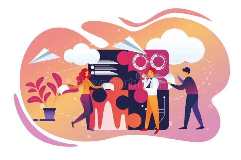 Biurowy biznes i Teamworking proces lifestyle royalty ilustracja