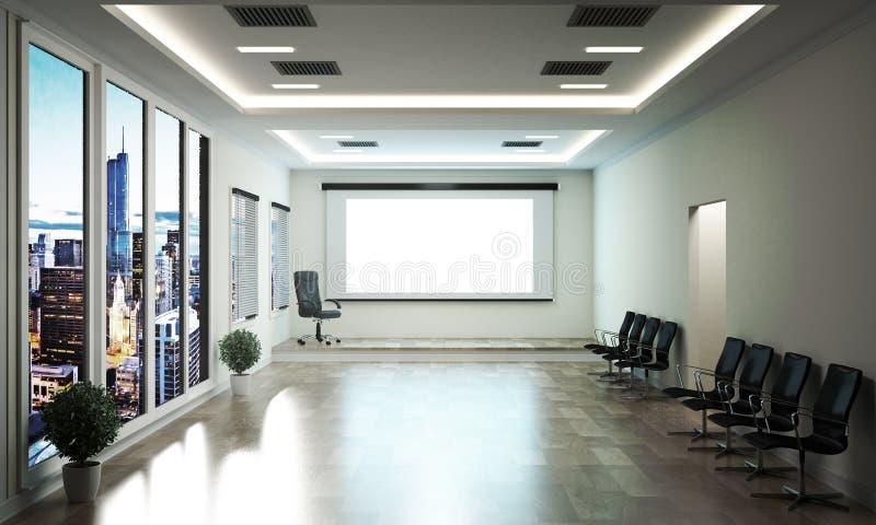 Biurowy biznes piękny pokój konferencyjny i konferencyjny stół -, nowożytny styl ?wiadczenia 3 d ilustracja wektor