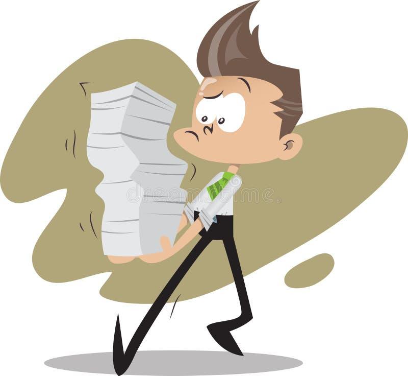 Biurowy facet z stertami dokumenty ilustracja wektor